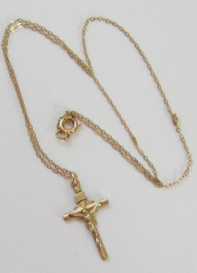 Dainty Vintage 14k Gold Filled Cross And Chain From