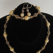 Lovely Vintage Parure Gold Tone and Silver Tone Beads and Rhinestone