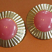 Givenchy Vintage Gold Tone and Pink Earrings