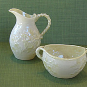 "Beautiful Vintage Belleek ""IVY"" Cream and Sugar Bowl"