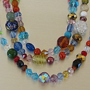 Sparkling Vintage Three Strand Multi Color Necklace