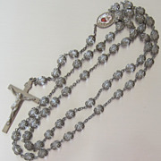 Ornate Vintage Clear Crystal Rosary Beads
