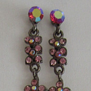 Wonderful Vintage Swarovski Aurora Borealis and Pink Rhinestone Dangle Earrings