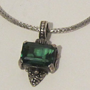 Lovely Vintage Sterling Silver and Emerald Green Necklace, Pendant, Enhancer