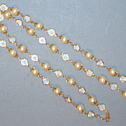 Vintage Faux Pearl and Austrian Crystal Chain Necklace