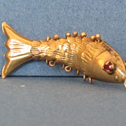 Vintage 14Karat Yellow Gold Flexible Fish Charm, Ruby Eyes