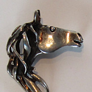 Vintage Sterling Silver Horse Head and Mane Pendant/Brooch