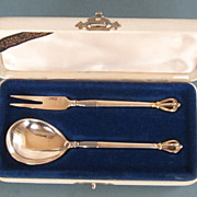 W.& S Sorensen Vintage Sterling Silver Sugar Spoon And Lemon Fork Set