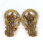 Kramer Vintage Gold Tone Tassel Earrings