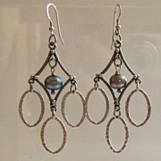 Stunning Sterling Silver Black Pearl Chandelier Earrings
