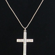 Lovely Vintage Sterling Silver Cross Necklace