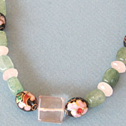 Cloisonne' and Glass Bead Necklace