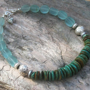 Santa Fe Style Turquoise with Sea Glass Necklace Earth Sky and Water #2