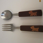 SALE Bakelite Child's Fork and Spoon with Inlaid Dog