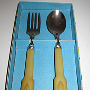 SALE Bakelite Child's Fork & Spoon in Original Box