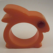 Orange Rabbit Bakelite Napkin Ring with Rodded Eye