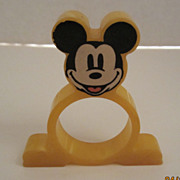 Yellow Bakelite Mickey Mouse Napkin Ring