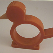 Orange Bakelite Bird Napkin Ring