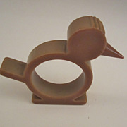 Olive Green Bakelite Bird Napkin Ring - Good Beak
