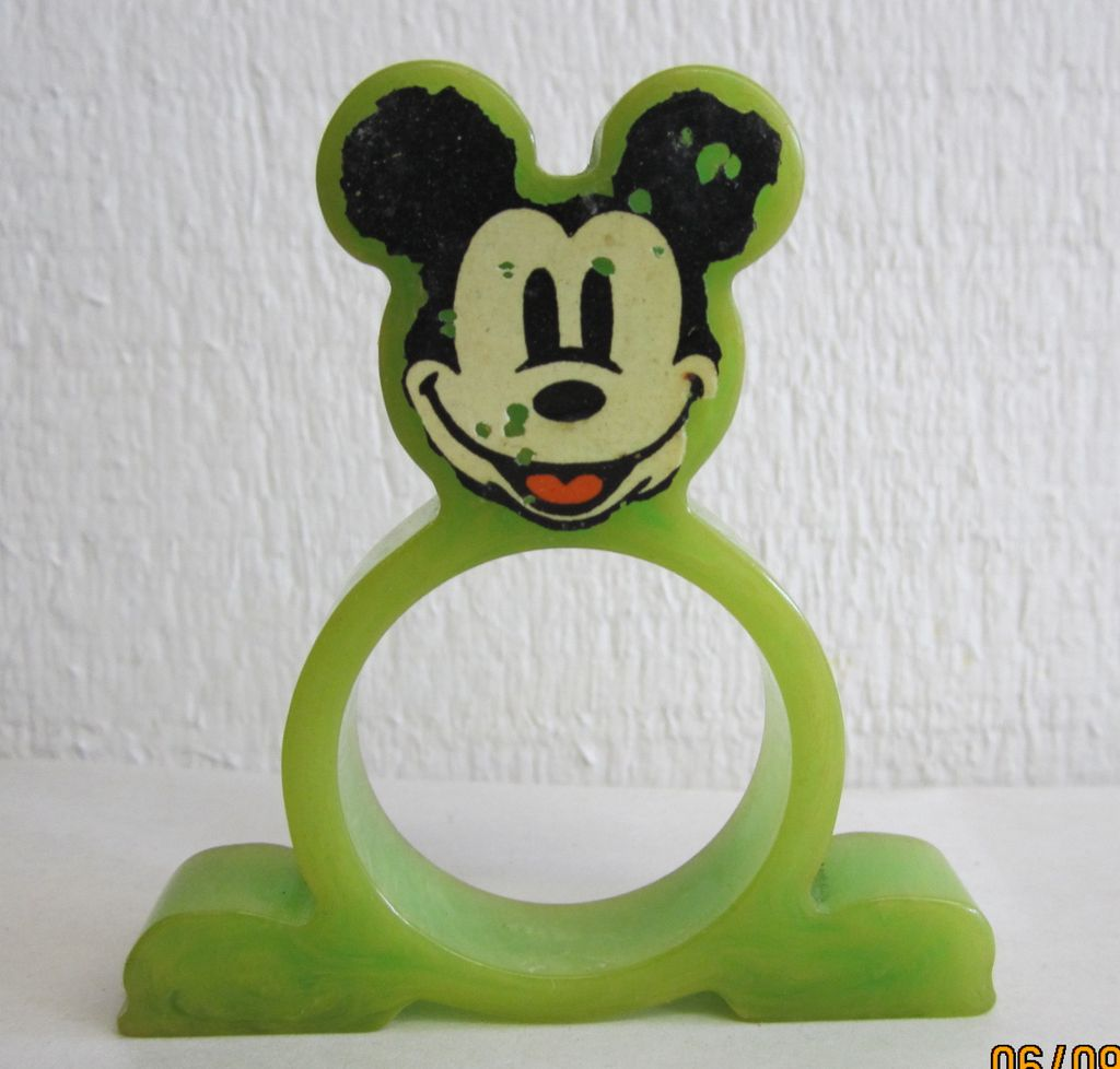 Mickey Mouse Green Bakelite Napkin Ring