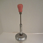 Vintage Nut Chopper with Pink Wooden Knob