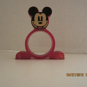 SALE Red Bakelite Mickey Mouse Napkin RIng