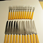 SALE Butterscotch Bakelite Flatware 24 pc. Set Forks & Knives