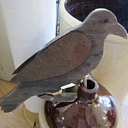 Folk Art Wooden Crow - Wood and Tin
