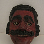 19th Century Mexican Mask Hand Carved Signed