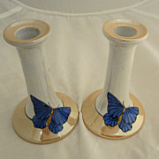 SALE Pair Noritake Luster Candle Sticks with Butterflies