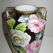 Noritake Black Vase with Gold & Flowers