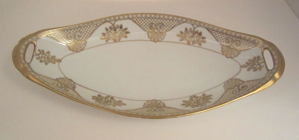 Noritake Celery Dish with Raised Gold