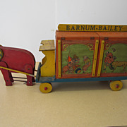Barnum & Bailey Circus Menagerie with 9 Tin Litho Toys