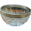 Vintage Cut Glass Candy Dish with Silver Rim
