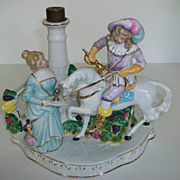 Victorian French Figural Lamp-Musketeer on Horse-Woman w/ Goblet-Germany #5810