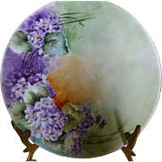 Bavarian Violet Cabinet Plate hand painted c 1920