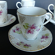 Set of 6 Vintage Richmond Bavaria Demitasse Cup & Saucers c 1880s