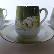 Set of 4 Vintage German Floral Demitasse Cup & Saucers