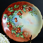 Limoges Cherry Platter  hand painted artist signed  c 1891