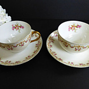 T&V Limoges set of 2 Tea Cup and Saucer c 1907-1919