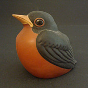 SOLD Nicodemus Pottery Large Robin Bird Figurine