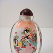 SALE Vintage Oval Chinese Glass Reverse Painted Snuff Bottle