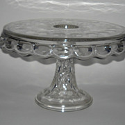 McKee Clear Glass Plymouth Lace-Edge Thumbprint Cake Stand w/ Rum Well
