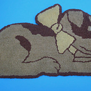 Adorable c1940s Child's Hook Rug Puppy Dog with Bow