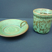 Two Pieces of Green Cole Pottery North Carolina