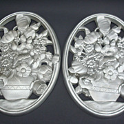 Vintage Art Deco/Moderne Cast Aluminum Flower Basket Wall Plaques Pair