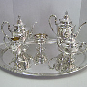 5 Pc Gorham Dolly Madison Sterling Tea Service with Tray