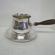 St. Sauce/Brandy Cup & Wooden Handle w. Tray