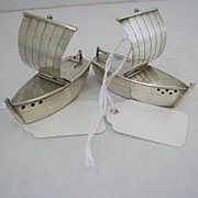 Pair of Sterling Silver Shakers - Asian Sailboats