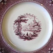 REDUCED Antique c1840 Transferware Plate Ningpo Purple Mulberry Staffordshire